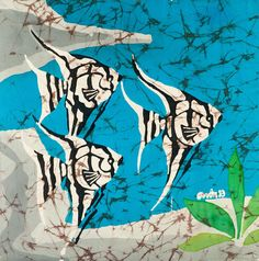 Art Painting - Batik - Room Decor - Angel Fish - Silk Wall Hanging - Hot Wax Technique - House Decoration X 15 inch. Encaustic Painting, Silk Painting, Shibori, Mermaid Canvas, Wax Art, Batik Art, Angel Fish, Art Techniques, Collage Art