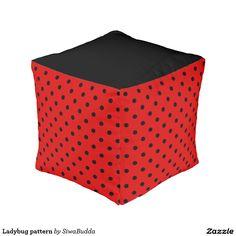 Ladybug pattern cube pouf