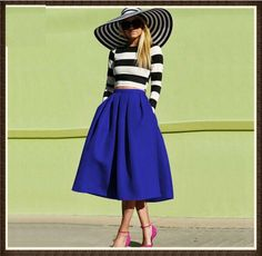 2015 women casual skirt Midi A Line Flare Pleated Fashion Street Style Women's Solid Black Plain Casual Vintage Skirts plus size