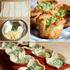 Whip up these Puff Pastry Spinach Cups in your Muffin Tin! We've included Cheesy Spinach Balls for you to try too! Great Appetizers, Healthy Appetizers, Appetizer Recipes, Yummy Snacks, Recipes Dinner, Betty Crocker, Bbq Chicken Pizza, Spinach Puff Pastry, Spinach Pie