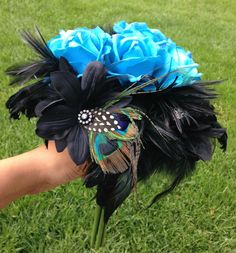 Unique Turquoise Bouquet - Blue and Black Bouquet - Peacock Feather Bouquet - True Touch Rose Bouquet - Blue Rose Bouquet - Free Shipping - pinned by pin4etsy.com