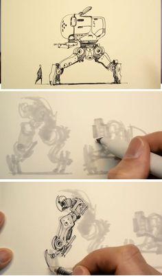 SCOTT_SKETCH_2 Arte Robot, Robot Art, Robot Sketch, Sketch 2, Drawing Sketches, Art Drawings, Drawing Art, Scott Robertson, Android Jones