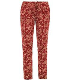 Indian made red/sand floral print cotton straight tapered leg high waisted drawstring elasticated waistband slanted side pocket back patch pocket trousers. Material: 100% cotton, machine wash. #matchesfashion