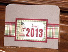 Christmas card with snowman. Simple Numbers stamp set by Tami Mayberry for Gina K Designs