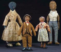 A whole Family of Early American Stuffed Dolls.