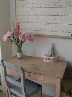 Love shabby table and chair....perfect for a vintage room!