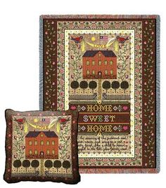 Home Sweet Home Tapestry Pillow and Throw Set - - Great for Decorating - Great for Gift Giving  - Buy at Snugglebug Pillows and Throws www.snugglebugpillowsandthrows.com