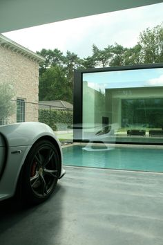 minimalist pool and garage