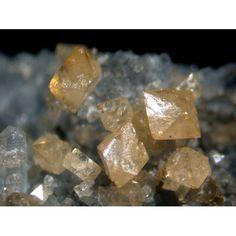 Scheelite octahedrons on quartz~ Ophir Hill Mine, Tooele County, Utah, United States of America  Scheelite Formula: Ca(WO4) Strunz: 7.GA.05 Crystal System: Tetragonal Hardness: 4.5 - 5.0