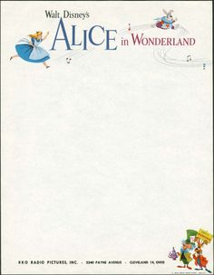 Vintage Disney Alice in Wonderland: 1951 Studio Letterhead - RKO Letterhead Design, Stationery Design, Letterhead Business, Business Cards, Disney Love, Disney Magic, Alicia Wonderland, Disney Inspired Food, Disney Posters
