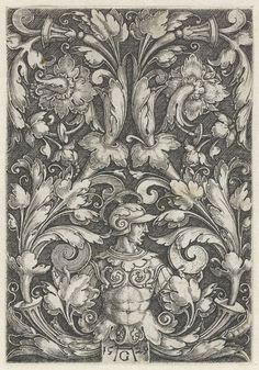 Man in een harnas waaruit bladranken komen, Heinrich Aldegrever, 1529