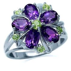 2ct. Natural African Amethyst & Peridot Sterling Silver Flower Cluster Ring