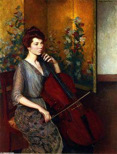 チェロ奏者, キャンバスに油彩 バイ Lilla Cabot Perry (1848-1933, United States)