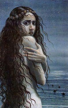 illustration, Woman of the Sea by Juan Wijngaard Fantasy Kunst, Fantasy Art, Mythical Creatures, Sea Creatures, Illustrations, Illustration Art, The Magic Faraway Tree, Art Magique, Irish Mythology