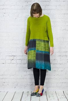TM Collection fine cashmere and silk tunic dress. Feels gorgeous and such colours - you have to see these fabrics to appreciate them. Knit is 70% silk, 30% cashmere, skirt 100% woven silk.