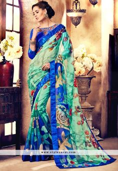 Mindblowing Multicolor Faux Georgette Fabric Party Wear Printed Saree