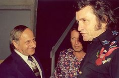 "Johnny Cash with Hermann Gmeiner, the founder of  ""SOS-Kinderdörfer"""