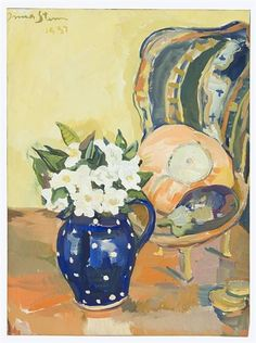 Artwork by Irma Stern, Still life of flowers and a pumpkin, Made of gouache