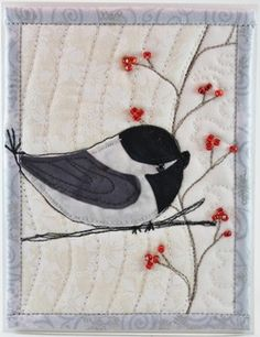 chickadee with berries card