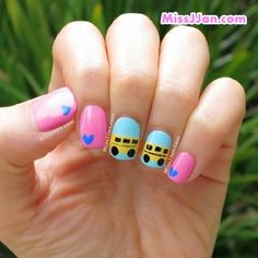 Even if you don't ride everyone's favorite mode of transportation to school, an accent nail or two with a big yellow bus is a cheerful way to bring on the new year. Copy this look from MissJJan by painting a yellow stripe across two light blue nails and adding black details with simple shapes and lines. Shellac Nail Designs, Shellac Nails, Nail Art Designs, Nails Design, Diy Nails, Acrylic Nails, Yellow Nail Polish, Yellow Nails, Green Nails