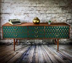 Upcycled Sideboards | #upcycled | #upcycledfurniture | #sideboard | #decoupage | Upcycled Furniture | #midcentury | Mid Century | #teak | Created by Studio 27 UK, Chelmsford, Essex, UK \ www.upcycledhour.co.uk