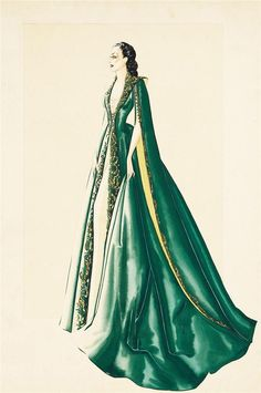 Costume by Walter Plunkett for Scarlett O'Hara in Gone With the Wind (MGM, 1939)