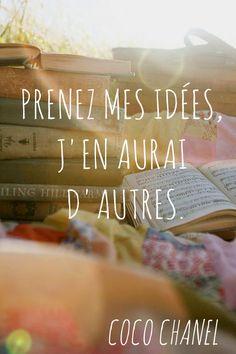 Motivation Quotes : Citation Coco Chanel : « Prenez mes idées, j'en aurai d'autres. Citation Coco Chanel, Quote Citation, French Quotes, French Sayings, Gentle Parenting, Step Parenting, Parenting Toddlers, Parenting Styles, Some Quotes