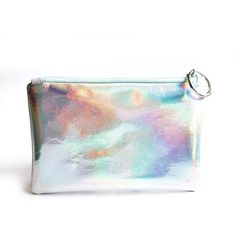 Holographic Leather Clutch, Hologram Leather Pouch, Iridescent Leather... ($54) ❤ liked on Polyvore featuring bags