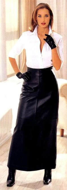 Black leather maxi skirt and gloves