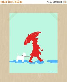 Girl with umbrella and Westie print.