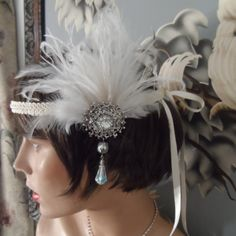 GREAT GATSBY inspired headpiece headband fascinator antique silver ox  ivory feather roaring 20's wedding bridal hair accessories flapper