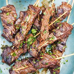 A sweet strawberry-herb chimichurri is the ideal complement for these savory steak skewers.