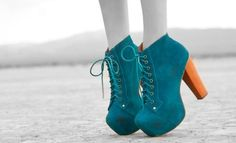 Shoes - turquoise twist on 'blue suede shoes' meets Frankenstein boots = cute, funky shoes