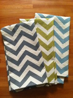 Chevron Kitchen Towel Set pick any 3 colors by WildandWonderuffle, $21.00