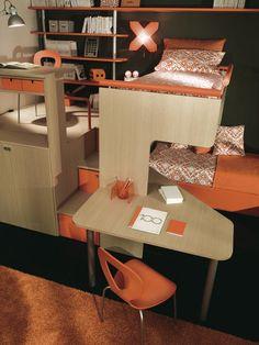 Loft bed / contemporary / with writing desk / child's unisex LOFT Sangiorgio Mobili