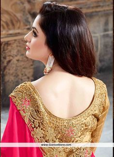 Patch Border Net Designer Half N Half Saree In Beige And Hot Pink