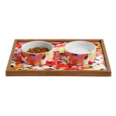 """Rosie Brown Blooms Pet Bowl and Tray 