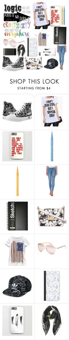 """Artist Outfit #4 The Crazed Sketcher"" by rachahnmontana ❤ liked on Polyvore featuring Too Faced Cosmetics, Zoe Karssen, Lanvin, Full Tilt, adidas Originals, Casetify and Jimmy Choo"