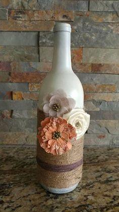Decorative wine bottle crafts snapple Items similar to Decorative wine bottle on Etsy Fall Wine Bottles, Recycled Wine Bottles, Wine Bottle Corks, Painted Wine Bottles, Vodka Bottle, Liquor Bottle Crafts, Wine Craft, Glass Bottle Crafts, Diy Bottle