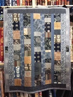 Aizome Kakishibu Boro Quilt Pattern _ Level: Beginner Have a lot of blue and brown scraps? A collection of natural indigo? Vintage fabrics from Japan that you've been hoarding? Faded fabrics, worn, used, or otherwise color-softened cot…
