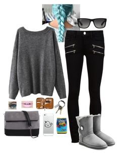 """""""Untitled #130"""" by valyia ❤ liked on Polyvore featuring Paige Denim, UGG Australia, 7 Chi, CB2, Ray-Ban, Fiebiger and Hard Candy"""