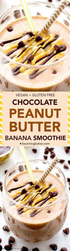 Chocolate Peanut Butter Banana Smoothie (V+GF): a protein-rich, 6-ingredient recipe for a creamy chocolate peanut butter lover's smoothie. Tastes like a sundae. #Vegan #GlutenFree   BeamingBaker.com