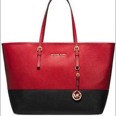MK MD Jet Set Black/red tote Authentic brand new medium Jet set tote. Perfect Christmas gift and for this Holliday season. Valentine's Day. Michael Kors Bags Totes