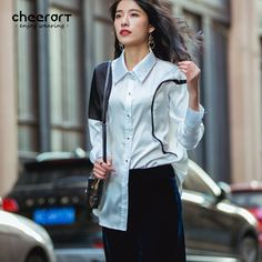 dac1f87634f259 ... 2017 Spring Black White Hit Color Women Blouse Loose Long Sleeve Shirt  Top Femme Korean Style Fashion Clothing from Reliable loose long sleeve  shirts ...