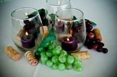 vineyard grapes and corks decor