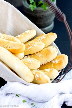 Soft Italian breadsticks are SO easy. Topped with cheese and herb mixture, the perfect addition to the bread basket at dinner. Bake in 20 minutes, hot and fresh.