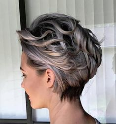 Silvery Blonde Wavy Pixie Bob, Click image to See More. Short Wavy Pixie, Short Grey Hair, Short Curls, Short Hair With Layers, Pixie Bob, Pixie Cuts, Bob Cuts, Short Hair Cuts For Women Over 40, Grey Hair Styles For Women