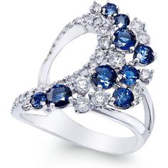 Sapphire (1-3/4 ct. t.w.) and Diamond (3/4 ct. t.w.) Drama Ring in 14k... ($1,935) ❤ liked on Polyvore featuring jewelry, rings, blue, blue diamond ring, pandora jewelry, blue sapphire ring, blue rings and 14k ring