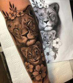 Hand Tattoos, Mommy Tattoos, Cute Tattoos, Body Art Tattoos, Tattoos Skull, Thigh Tattoos, Tattoo Ink, Tatoos, Lion Leg Tattoo