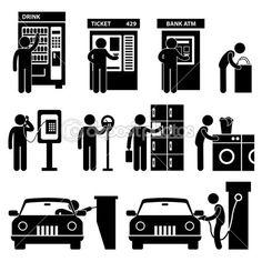 Man using Auto Public Machine Icon Symbol Sign Pictogram — Stock Illustration #12307482